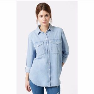 Topshop Moto oversized denim button down top